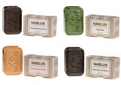 Nablus Soap Natural Olive Oil Set of 4 (4x100g) Damask Rose, Black Cumin, Thymes, Dead Sea Mud