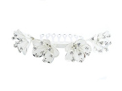Desire Accessories Silver edged Gauze Petal Haircomb with Crystal Stamens
