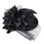 WINOMO Women's Ladies Fascinator Feather Hair Clip Mini Top Hat Cocktail Hat Party Hat