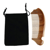 Fish Style Green Sandalwood Wooden Wide Tooth Hair Comb Pocket Comb with Storage Bag