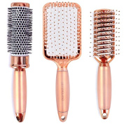 Lily England Luxury Rose Gold Hair Brush Set - Professional Hairbrush Gift Set for All Hair Types