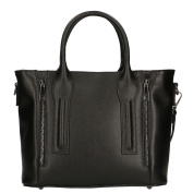 CTM Elegant Woman Handbag in Saffiano Patter with Shouder Strap, genuine leather made in Italy - 28,5x22x12 Cm