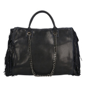 CTM Woman Handbag with metallic shoulder straps, genuine leather made in Italy - 35x30x12 Cm