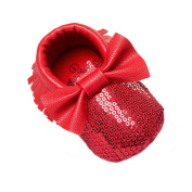 Baby Girls Sequin Bowtie Soft Soled Crib Shoes Fringe Prewalkers