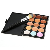 Cravog 15 Colours Concealer Camouflage Contour Eye Face Cream Makeup Palette withSilver Make up Brush