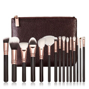 Fortan 15 PCS Makeup Brushes Set Cosmetic Complete Eye Kit + Case