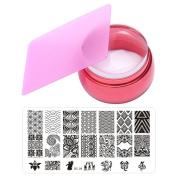 3.5cm DIY Silicone Nail Art Stamper Transfer + Scraper + Stamping Manicure Image Print Plates Stencil Template Nail Art Stamping Tool Kit
