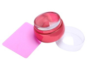 OUMOSI Jelly Silicone Nail Art Stamp Stamper with Metal Lid Fingernail Scraper Nail Stamping Plates Stamper Manicure Nail Art Set