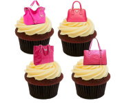 Pink Designer Handbags Edible Cake Decorations - Stand-up Wafer Cupcake Toppers