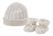 Natures Knits Organic Cotton Cable Hat & Booties Fur Lined Gift Set.Cream