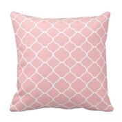 Home Decorative Pretty Blush Pink White Quatrefoil Pattern Pillows Throw Pillow Cover Cushion Case 46cm