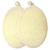 Exfoliating Loofah Pad-2 Pack 100% Natural Loofah Sponge Scrubber Brush Close Skin For Men and Women - GAINWELL
