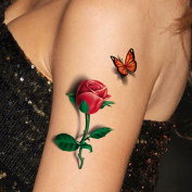 TAFLY 5 Sheets 3D Ladies Body Art Sticker Sexy Butterfly Rose+Butterfly Temporary Tattoo