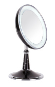 Danielle Creations Folding LED Pedestal Black/ Chrome Mirror with Elements x 5 Magnified 17.7cm