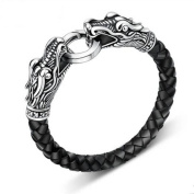 MESE London Leather Dragon Bracelet Men's Viking's Serpent Head