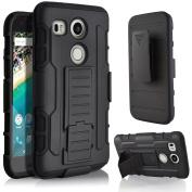 Nexus 5X Case, Asstar Premium Belt Clip Holster Shock Absorption Full-body Rugged Dual Layer Kickstand Defender Protective Case Cover for LG Google Nexus 5X