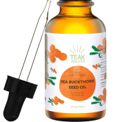 SEA BUCKTHORN SEED OIL by Teak Naturals - Organic Sea Buckthorn Seed Oil - 100% Pure Cold Pressed & Unrefined - 30ml for Added UV Protection, Anti-ageing & Acne Relief