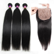 Eayon Hair 7a Virgin Brazilian Hair Silk Base Closure with 3 Bundles Straight Hair Remy Human Hair Jet Colour