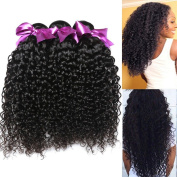 100% Peruvian Virgin Remy Human Hair Kinky Curly Natural Black