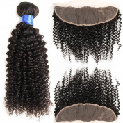 Gluna Hair 4Pcs Brazilian Virgin Hair Kinky Curly With Lace Frontal Closure 13×4 Ear To Ear Closure With Kinky Curly Hair18 20 22 24+14