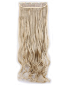 """Fashion Long Curly 3/4 Full Head One Piece 5clips Clip in Hair Extensions Cosplay Party Hairpiece( Ash Blonde mix Bleach Blonde 29"""""""
