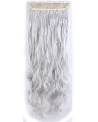 """Fashion Long Curly 3/4 Full Head One Piece 5clips Clip in Hair Extensions Cosplay Party Hairpiece( Silver Grey 29"""""""