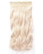 One Piece Clip in Hair Extensions 60cm Curly Half Head Mixed Colours