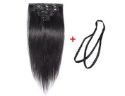 ALi Queen 6A 60cm Off Black 1B# Virgin Brazilian Straight 100g Clip In Human Hair Extension 8pcs/set Clip In Hair Accessories + 1pcs Plait