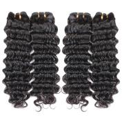 "Gluna Hair 8A Unprocessed Brazilian Deep Wave Virgin Hair 4pcs Brazilian Virgin Hair Deep Weave Bundles22""22""22""24"""
