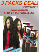 3 packs of Urban Beauty NaturAll 3X Jumbo Havana Twist 70cm Long Crochet Braidable Hair
