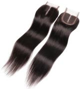 ALi Queen Hair 50cm Middle Part Straight Lace Closure Bleached Knots Brazilian 10cm x 10cm Virgin Human Hair Accessions