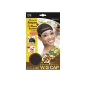 Organic Argan Olive Oil & Shea Butter Treated Deluxe Stocking Wig Cap #805 Brown