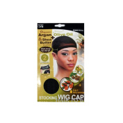 Qiftt Organic Argan Olive Oil & Shea Butter Treated Stocking Wig Cap #802 Brown