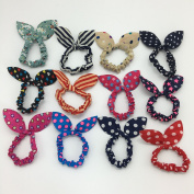 12PCS Cute Girls Rabbit Ear Hair Tie Bands Ropes Ponytail Holder