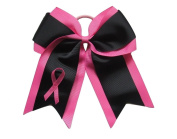 "NEW ""Black BREAST CANCER Ribbon"" Cheer Hair Bow Pony Tail 7.6cm Girls Cheerleading Practise Games School Uniform Hairbow Awareness Event"
