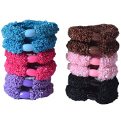 Bzybel 12pcs Thick Solid Stretch Pony Elastics Ponytail Holders Hair Ties