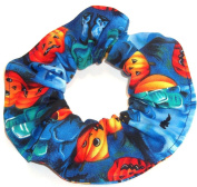 Halloween Pumpkins Bats RIP Blue Fabric Hair Scrunchie Scrunchies by Sherry