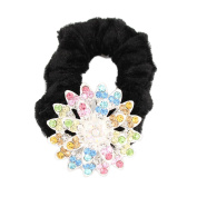 GSM Accessories Womens Girls Rhinestone Alloy Sunflower Velvet Ponytail Holders Hair Accessories PH027-Multicolor