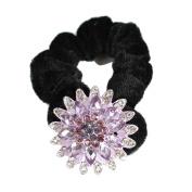 GSM Accessories Womens Girls Sunflower Rhinestone Acrylic Hair Band Ponytail Holder PH016-Purple