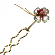 Tamarusan Hairpin Flower Pink Common Opal Freshwater Pearl Gold Chain Ornament Removable
