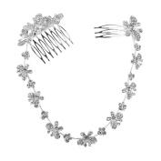WINOMO Women's Bohemian Simulated Pearl Butterfly Crystal Bridal Bendable Headband Hair Comb