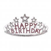Rhinestones Happy Birthday Crystal Glitter Tiara Crown Headband Comb Pin