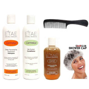 Etae Carmelux Shampoo, Conditioner, E'tae Carmel Treatment Kit (3 items) w/ Free Shower Cap and Comb