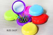 Detangling Folding Makeup Mirror with Hair Comb Massage Hair Brush- Rainbow - Colour Random