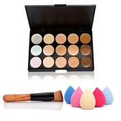 Blazers18 Makeup Cosmetic Concealer Palette Sponge + Concealer Brush 15 Colour