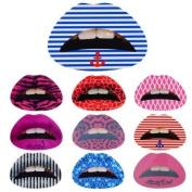 Btartbox 10 Pcs Fashionable Pattern Rubber Lips Tattoo Sticker