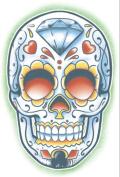 Day of the Dead El Jugador Sugar Skull Temporary Tattoo - Pack of 3 Tattoos