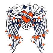 HJLWST 1PC Yimei Tattoo Stickers Waterproof Animal Series Women/Men/Adult/Teen Black/Orange Star Wing Pattern 16.8cm14.3cm