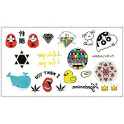 HJLWST Fashion Temporary Tattoos Crayon Shin Chan Sexy Body Art Waterproof Tattoo Stickers 5PCS (Size