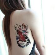 HJLWST 1Pcs Coloured Carp Lotus Flower Pattern Temporary Body Art Tattoo Sticker